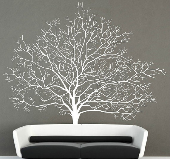 White birch tree wall decal branch forest wall by for White birch tree wall decal decorations