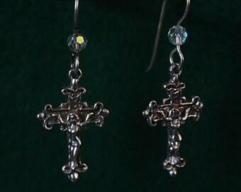 Barbie Crucifix - Sterling Silver Dangle Earrings