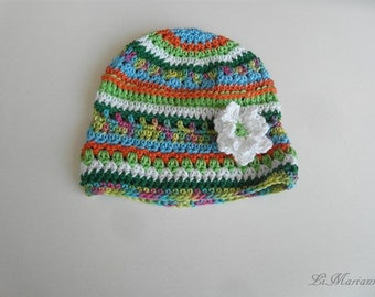 Baby summer bonnet, crocheted 100% Cotton German Quality, vegan with flower application, colourful