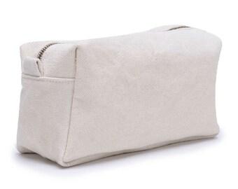 Cream Canvas Cosmetic Bag, White Canvas Toiletry Bag, Canvas Zipper Pouch, Canvas Storage Bag