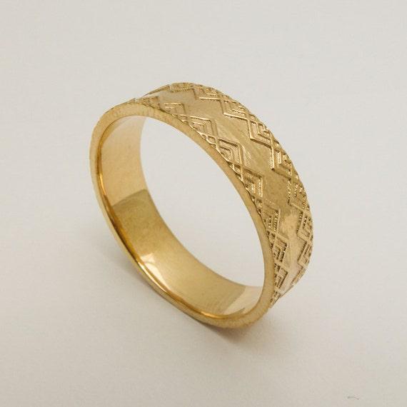 Mens Wedding Ring 14 Karat Solid Gold Wedding Ring