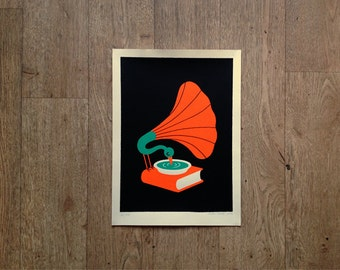 Jazz - Handmade limited edition silkscreen print by Miguel Porlan