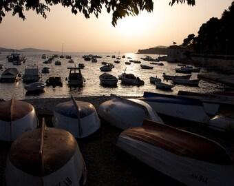 Boats on the small island of Hvar, Croatia.