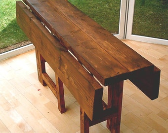 New Hand Made Rustic Drop Leaf Kitchen Dining Table in Thick Solid Wood  040