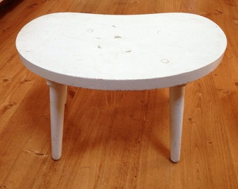Rustic White Painted Kidney Shaped Stool