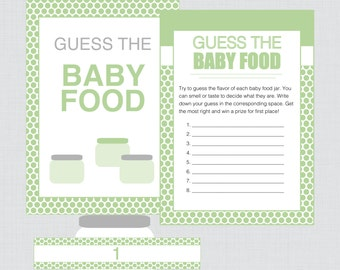 Baby Shower Baby Food Game in Green - Printable Instant Download