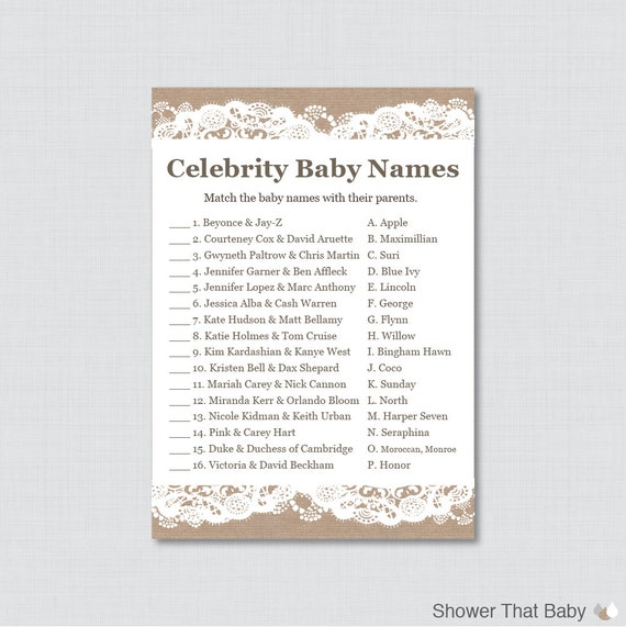 baby shower celebrity baby names match game in white lace celebrity