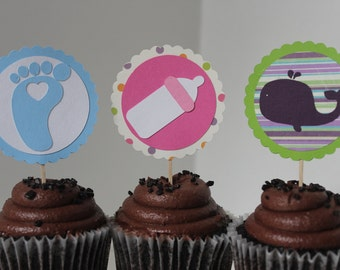 Custom Baby Shower Cupcake Toppers