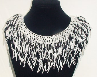 "Necklace from beads "" Black and white """