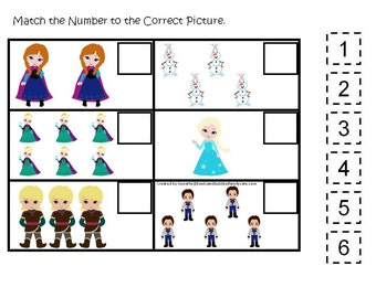 Frozen movie themed preschool print able game two match the number