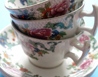 Booths Floradora china cups and saucers. pre-1888 (3 available)