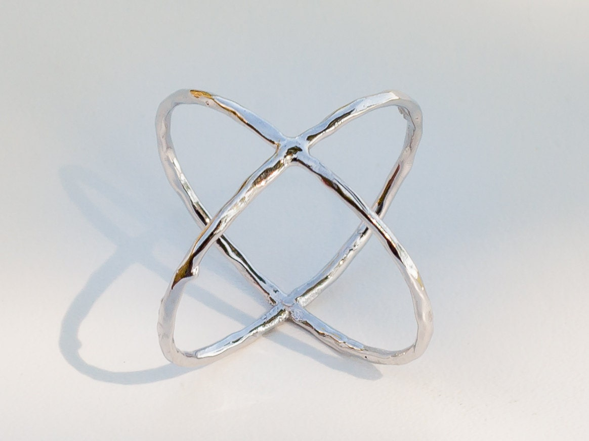 x ring criss cross ring sterling silver ring by eleajewelry