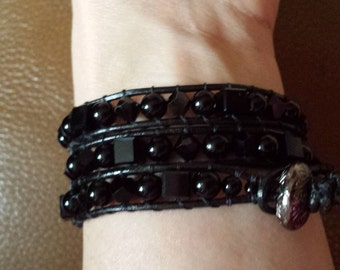 Three Strand Black Leather, Black Crystal, and Black Jasper Wrap Bracelet