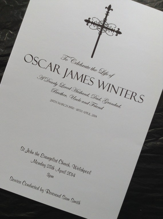 Funeral Order Of Service Program Hymn Sheet By