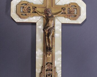 Make us an offer! Vintage French crucifix, mother-of-pearl, wood and metal