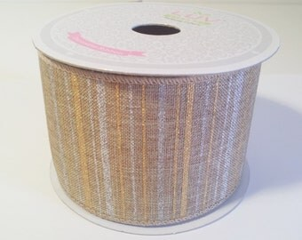 "2 1/2"" Canvas Metallic Stripes Ribbon - Toffee - 10 Yards"