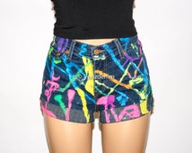 Hand Painted Denim Shorts, Vtg High Waisted Denim Shorts, Rainbow Shorts, Neon Color Hand Painted Shorts, Grunge Hipster, Plus Size Shorts