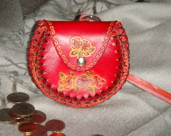 Genuine Leather Mini Wristlet Change/coin Purse, Red base, Flower pattern and Round shape