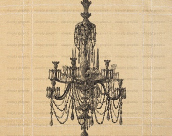 Chandelier Lighting, Ornate Clipart, Digital Image Download, Instant Download, Commercial Use, Fabric Transfer, Burlap Digital Paper b052