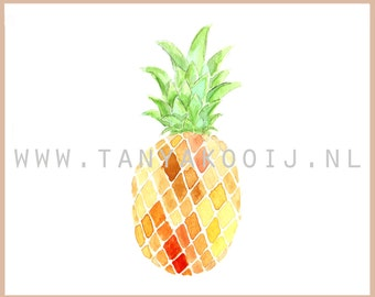 Pineapple Watercolor Clipart. Ideal as digital clipart for your logo, foodblog or other creative projects.