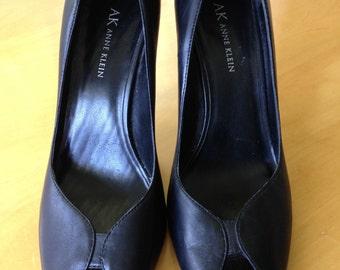 Vintage Black leather high heels with PeekaBoo Toe by Anne Klein