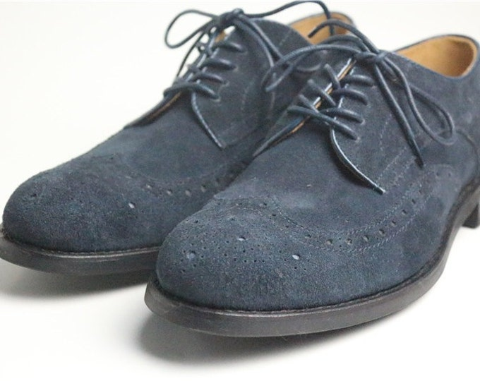Brogue Men's Dress Shoes,Suede Pattern,Handmade Goodyear Welted