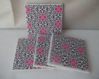 Ceramic Coasters, Pink Flowers & Black Coasters, Set of 4 Coasters, Tile Coasters, Ceramic Tile, Decoupage Coasters, Pink and Black Coasters