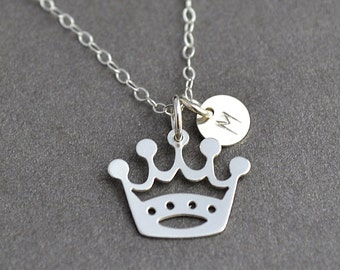 Princess Necklace, Initial Crown Necklace, Silver Crown Necklace, Gift for Daughter, Crown Charm, Custom Initial Necklace
