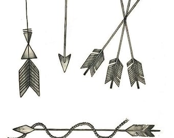 Set of 6 arrows - Temporary tattoos