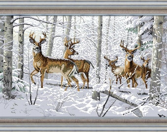 Counted Cross Stitch Antelopes In Snow Forest 14 count 65cm X 53cm)