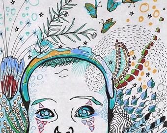 open mind, 2014 33cm * 24cm ink, coloured pencil, fiber artist, fine liner on rice paper