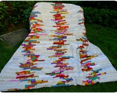 Duvet Cover or Doona- White, Red, Blue, Orange---Bold & Exciting Patchwork  Queen size