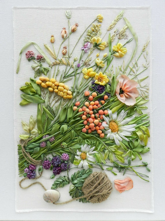 Wildflowers silk ribbon embroidery