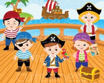 Pirate Digital Clipart, Pirate Clipart, Pirate Clip Art, Pirate Girl Clipart