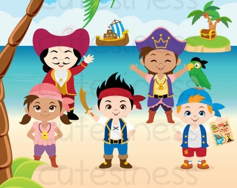 Pirate Digital Clipart, Neverland Clipart, Jake Neverland Clipart, Pirate Clipart, Pirate Clip Art