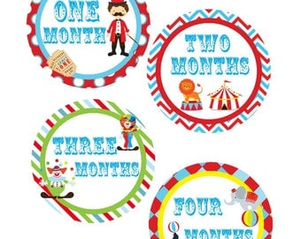 Baby Month Stickers, Monthly Stickers, Monthly Baby Stickers, Baby Shower Gifts, Baby Month Sticker Gender Neutral, Circus, U05