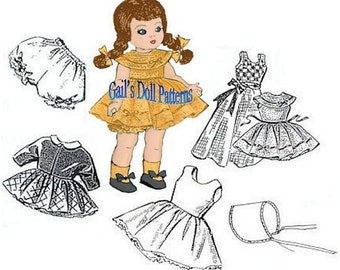 "Clothes Pattern for  7-1/2"" to 8"" Dolls such as Ginny, Muffy, Alexanderkins"