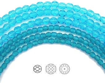 3mm (135pcs) Medium Aqua, Czech Fire Polished Round Faceted Glass Beads, 16 inch strand