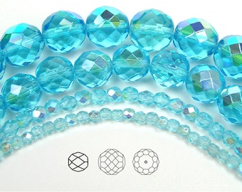 4mm (102pcs) Aqua AB coated, Czech Fire Polished Round Faceted Glass Beads, 16 inch strand