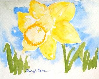 Yellow Daffodil Watercolor Notecard