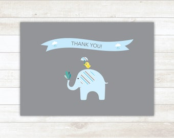 PRINTABLE thank you cards baby boy shower blue elephants thank you card - personal use