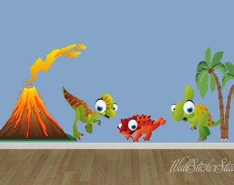 Dinosaur FABRIC Wall Decals, Dinosaurs REUSABLE Decal, Kids Wall Decal
