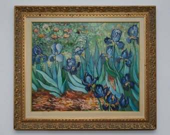 Vintage Impressionism Oil Painting On Canvas with Frame Les Iris Van Gogh Reproduction