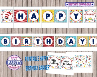 Dr.Seuss birthday banner, SALE Instant Download, printable Dr.Seuss party,Dr.Seuss, happy birthday banner, printable Dr.Seuss party banner