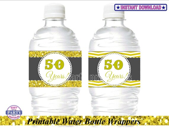Instant Ocean 50th Anniversary : Sale th anniversary water bottle wrappers instant download