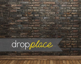Durable Matte Vinyl Backdrop Black Brick Wall with Wood Floor Photo Background (Multiple Sizes Available)