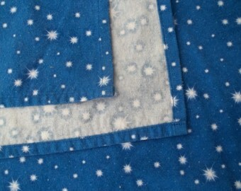 Large Flannel Receiving Blanket -  Stars on Blue