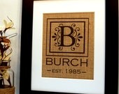 Burlap Monogram, Burlap Wedding, Personalized Family Sign, Wedding Present, Housewarming Gift, Anniversary, Burlap Print, Established Sign