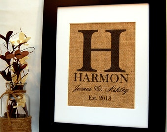 Personalized Burlap Wedding Gift, Anniversary Gift, Engagement Gift and Housewarming Gift