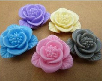 10pcs  Resin flower cabochon for Pendant Charm Craft Jewelry. c2603